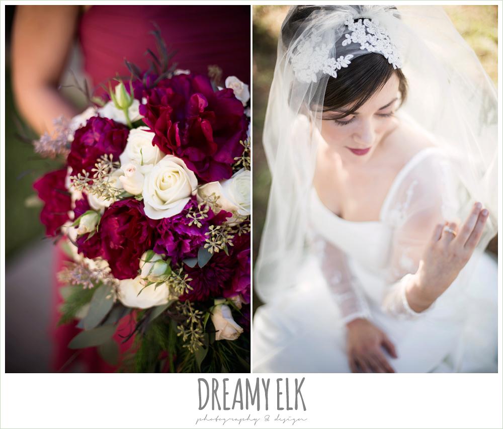 bride, unique wedding hair piece, winter burgundy wedding bouquet, winter december church wedding photo {dreamy elk photography and design}