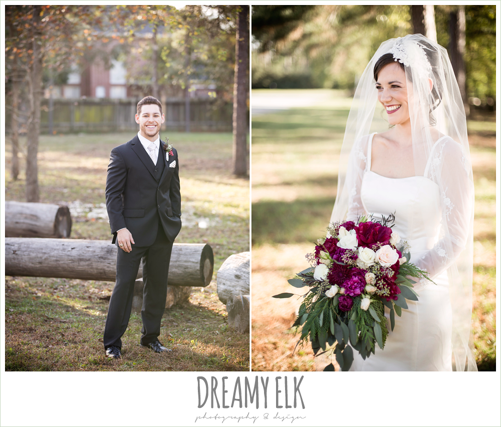 groom and bride, long sleeve wedding dress, winter december church wedding photo {dreamy elk photography and design}