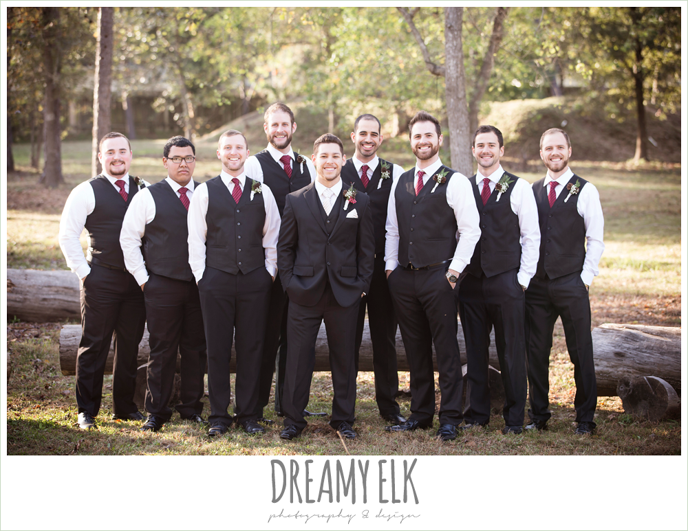 groom and groomsmen, vests and ties, winter december church wedding photo {dreamy elk photography and design}