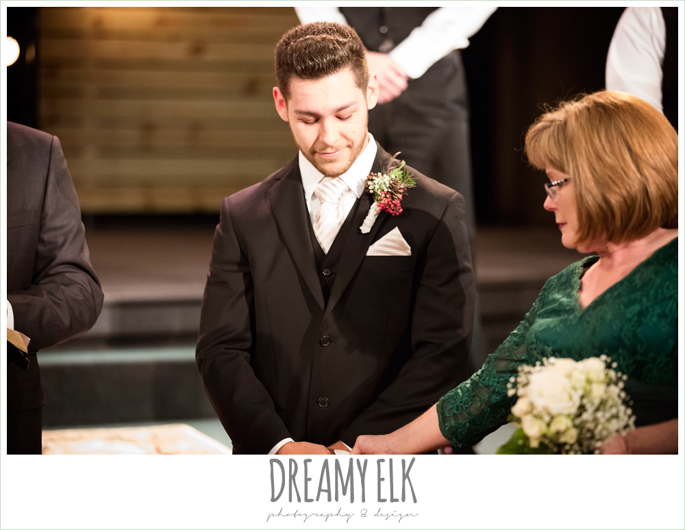 groom's reaction to bride walking down the aisle, winter december church wedding photo {dreamy elk photography and design}