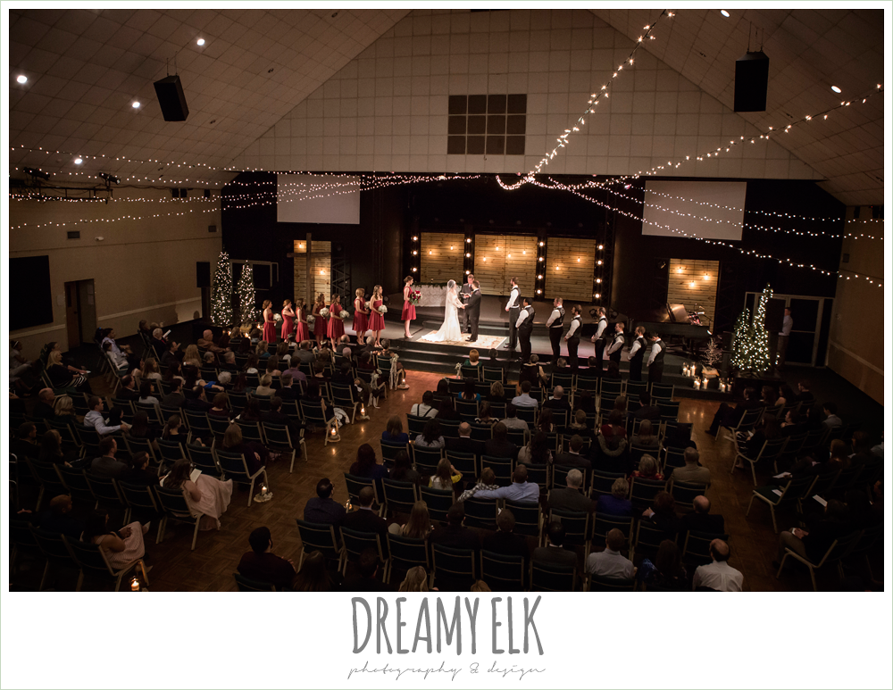 indoor wedding ceremony, winter december church wedding photo {dreamy elk photography and design}