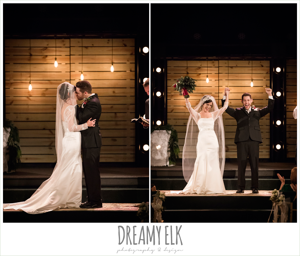 bride and groom kissing, indoor winter december church ceremony wedding photo {dreamy elk photography and design}