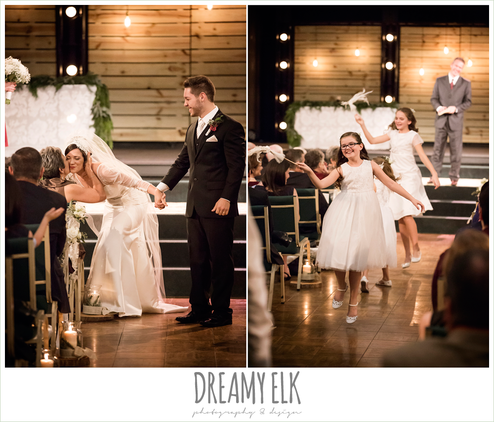 flower girls dancing down the aisle, indoor winter december church ceremony wedding photo {dreamy elk photography and design}