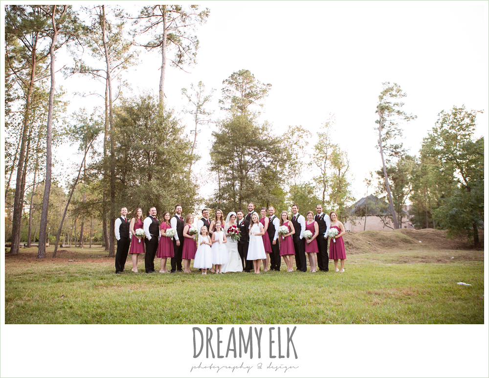 bridal party, mulberry mix match david's bridal bridesmaids dresses, winter december church wedding photo {dreamy elk photography and design}