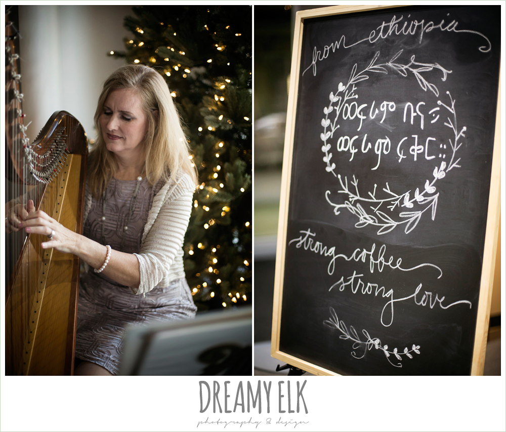 harpist, ethiopian coffee chalkboard sign, winter december church wedding photo {dreamy elk photography and design}