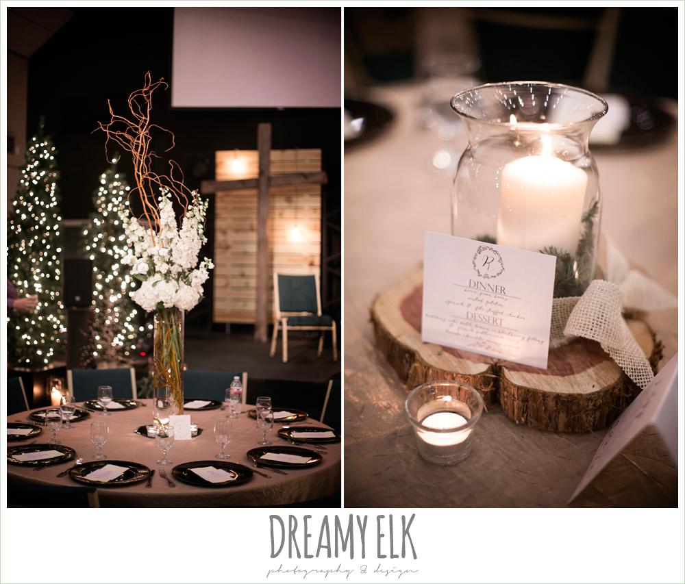 indoor reception table centerpiece flower arrangements, rustic, winter december church wedding photo {dreamy elk photography and design}