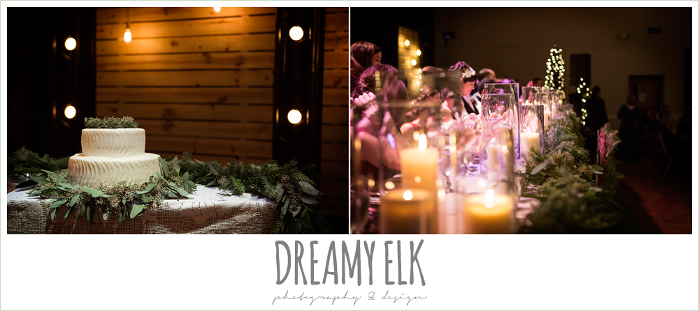 wedding cake table, indoor reception head table garland, rustic, winter december church wedding photo {dreamy elk photography and design}