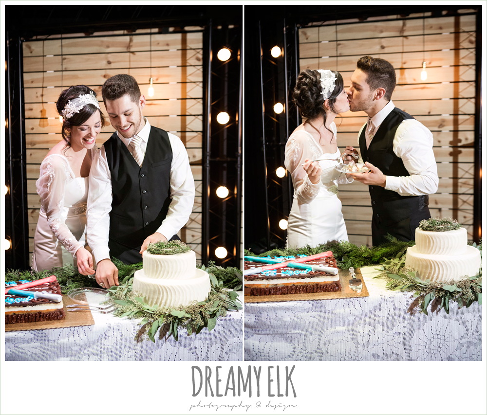 bride and groom cutting the cake, rustic, winter december church wedding photo {dreamy elk photography and design}