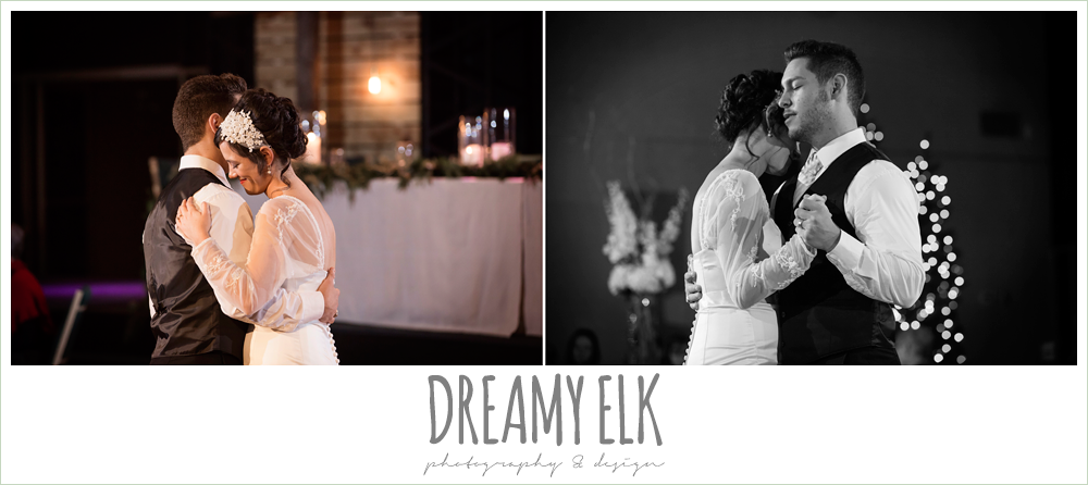 bride and groom first dance, winter december church wedding photo {dreamy elk photography and design}
