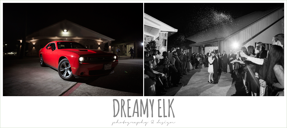 wedding getaway car, winter december church wedding photo {dreamy elk photography and design}
