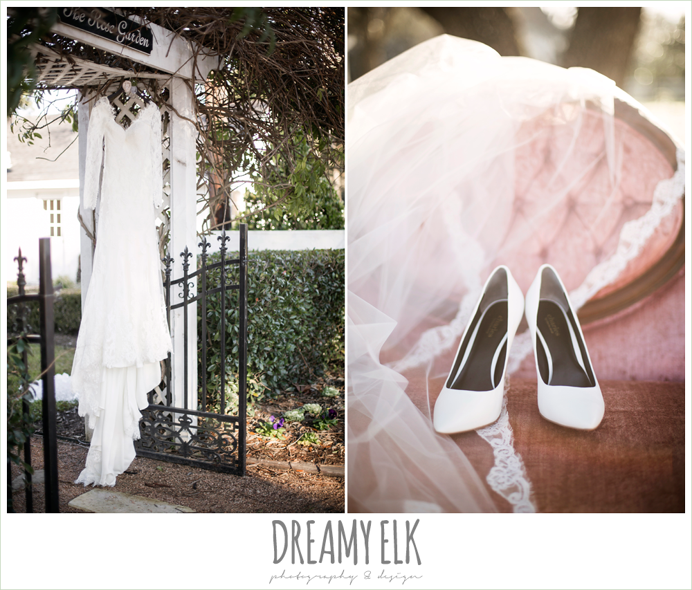 long sleeve lace wedding dress hanging on hangar, white heels wedding shoes, lave wedding veil, morning winter january wedding, ashelynn manor {dreamy elk photography and design}
