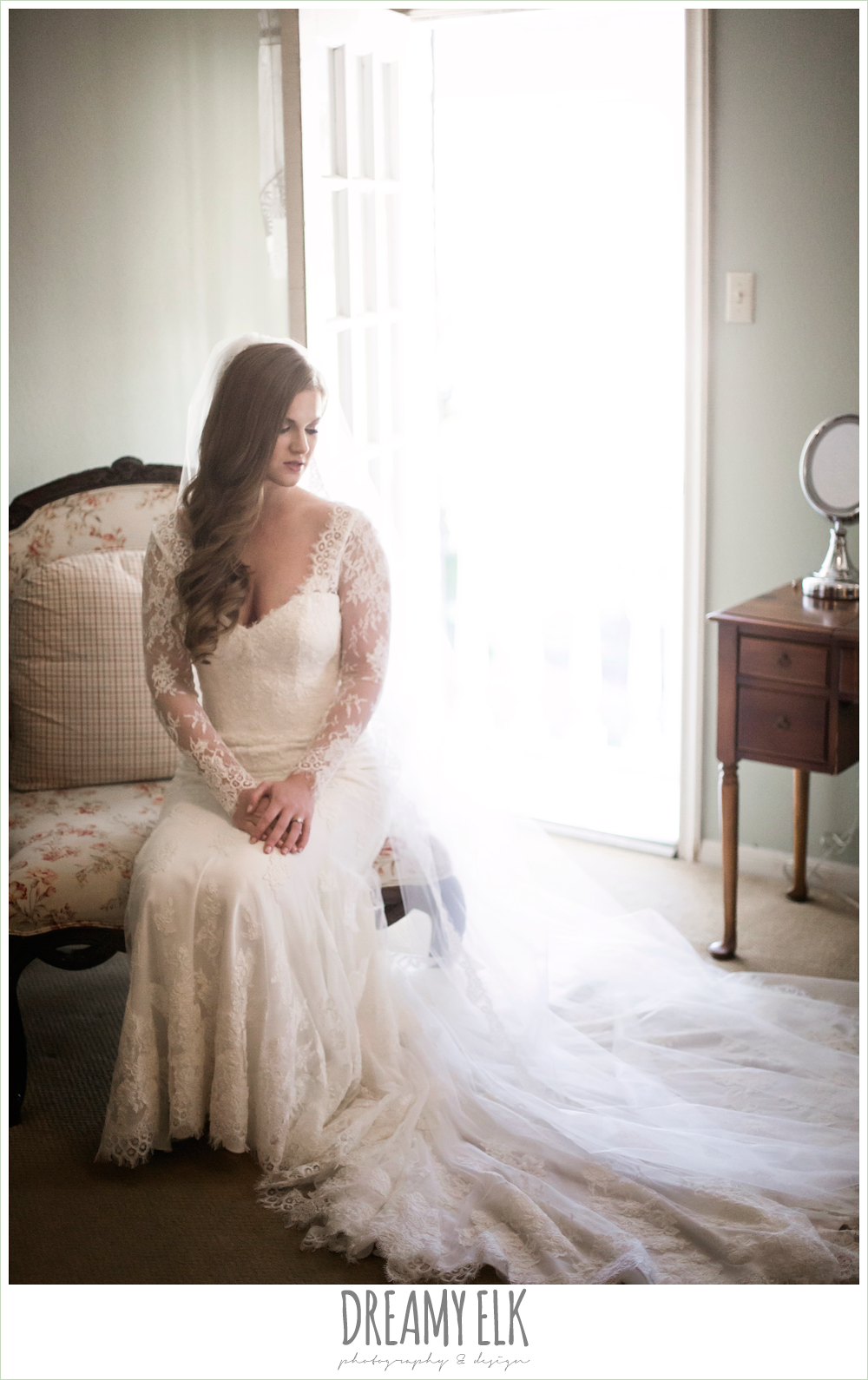 inside bridal portrait, wedding hair down, long sleeve lace wedding dress, morning winter january wedding, ashelynn manor {dreamy elk photography and design}