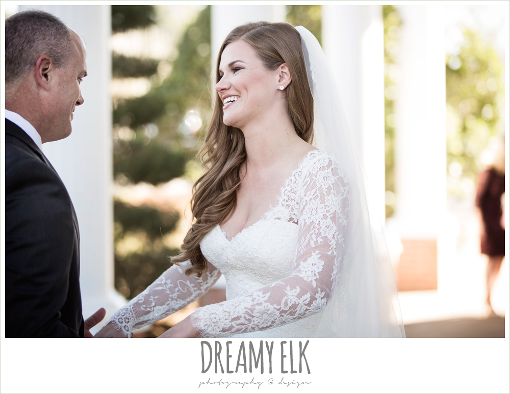 first look with dad, long sleeve lace wedding dress, morning winter january wedding, ashelynn manor {dreamy elk photography and design}