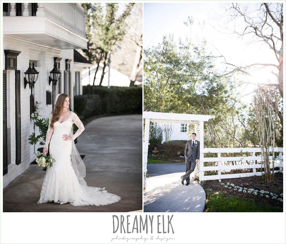 long sleeve lace wedding dress, long veil, white house, groom in dark gray suit, morning winter january wedding, ashelynn manor {dreamy elk photography and design}