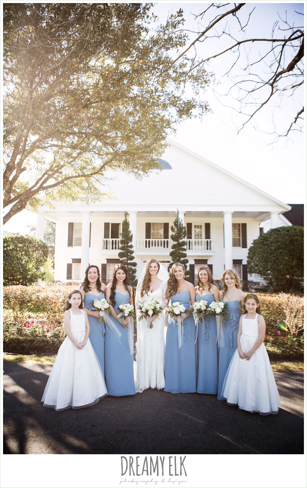 bride and bridesmaids, flower girls, long alfred angelo bridesmaids dress, wedgewood blue, long sleeve lace wedding dress, long lace veil, white wedding bouquet, tricia barksdale designs, white house, morning winter january wedding, ashelynn manor {dreamy elk photography and design}
