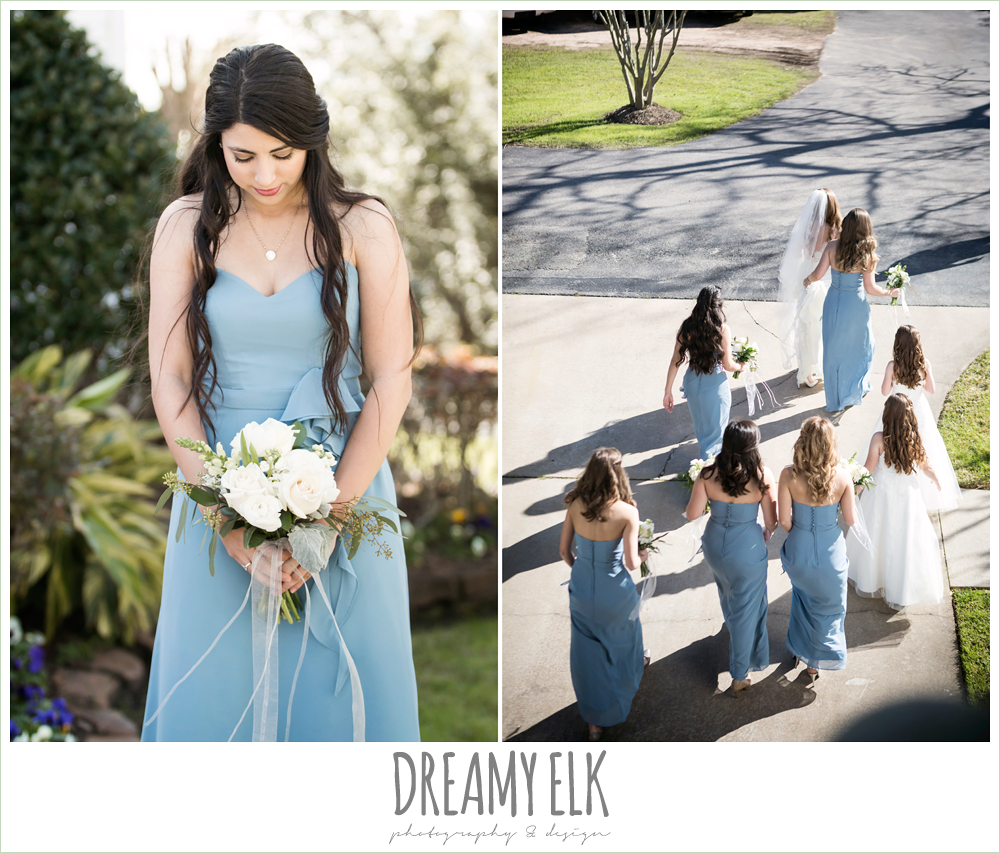 long alfred angelo bridesmaids dress, wedgewood blue, morning winter january wedding, ashelynn manor {dreamy elk photography and design}