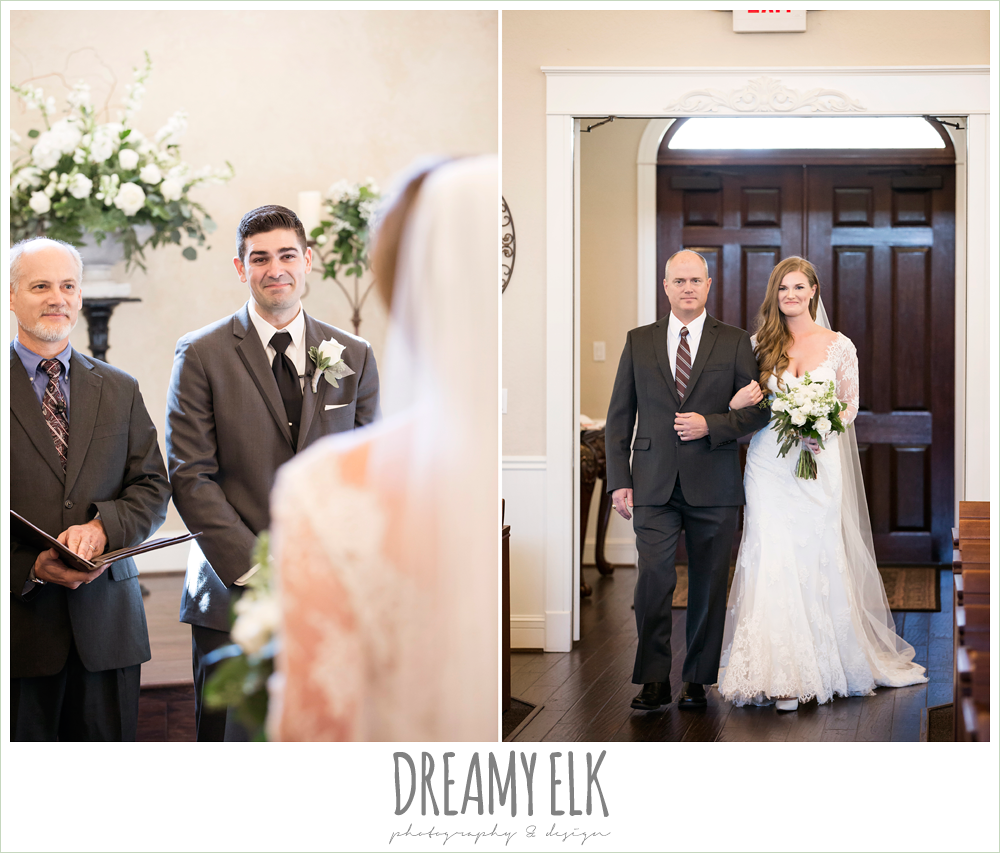 groom's reaction to bride walking down the aisle, chapel wedding, morning winter january wedding, ashelynn manor {dreamy elk photography and design}