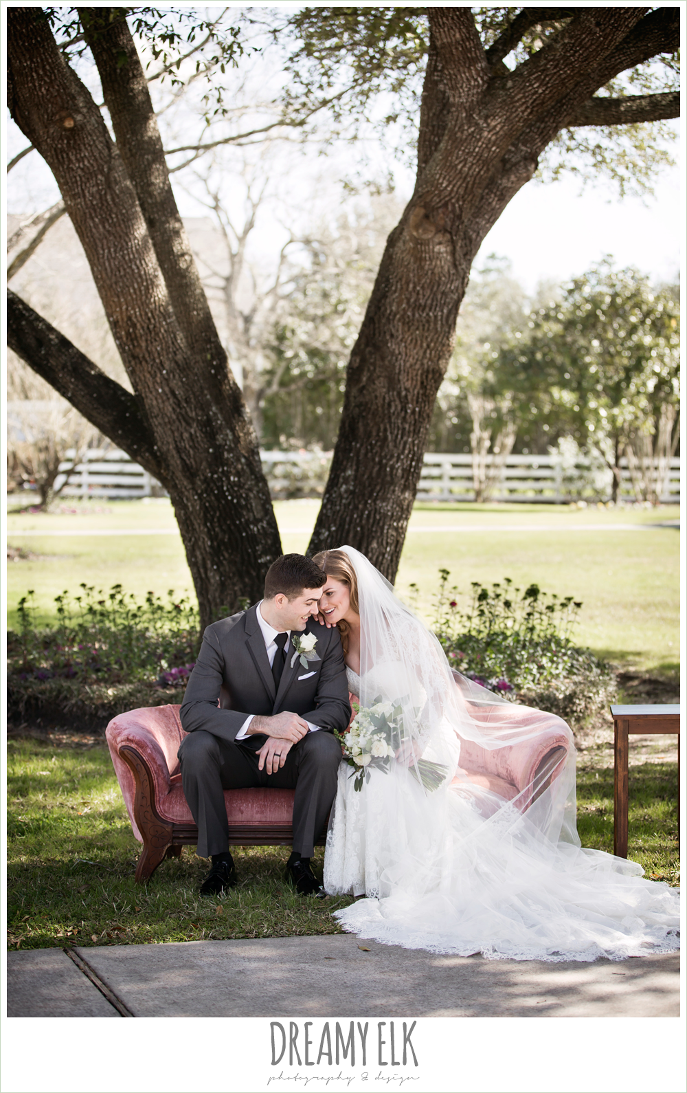 pink vintage couch, bride and groom, long sleeve lace wedding dress, long lace veil, white wedding bouquet, dark gray suit and black tie, morning winter january wedding, ashelynn manor {dreamy elk photography and design}
