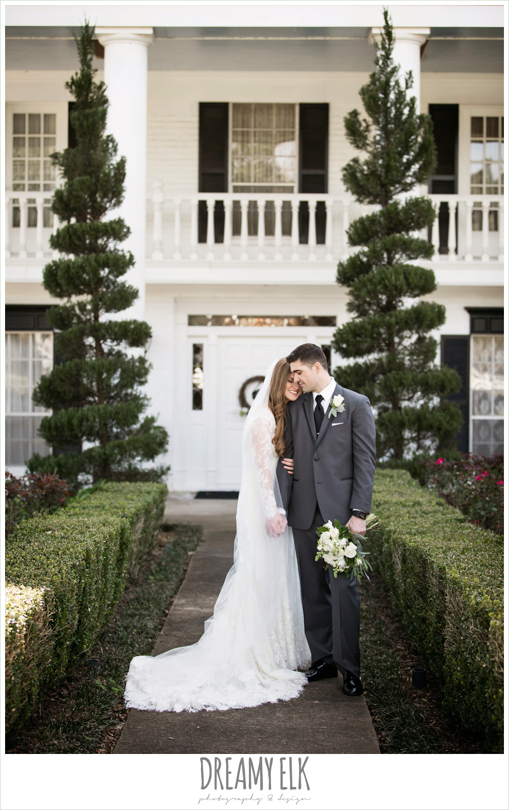 bride and groom, long sleeve lace wedding dress, long lace veil, white wedding bouquet, dark gray suit and black tie, morning winter january wedding, ashelynn manor {dreamy elk photography and design}
