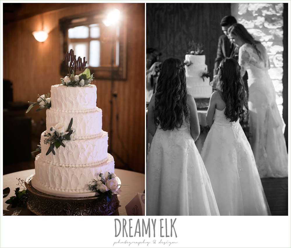 four tier white wedding cake, bavarian cakery, mr and mrs cake topper, bride and groom cutting the cake, morning winter january wedding, ashelynn manor {dreamy elk photography and design}
