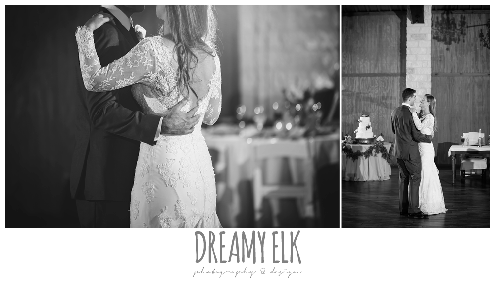 bride and groom first dance, long sleeve lace wedding dress, morning winter january wedding, ashelynn manor {dreamy elk photography and design}
