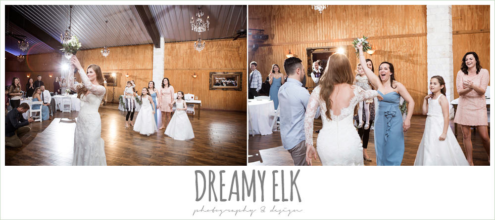 bouquet toss at wedding reception, morning winter january wedding, ashelynn manor {dreamy elk photography and design}