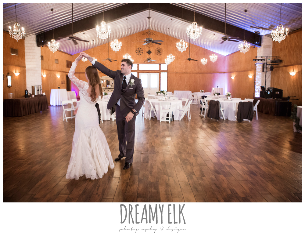 bride and groom dancing in an empty reception hall, morning winter january wedding, ashelynn manor {dreamy elk photography and design}
