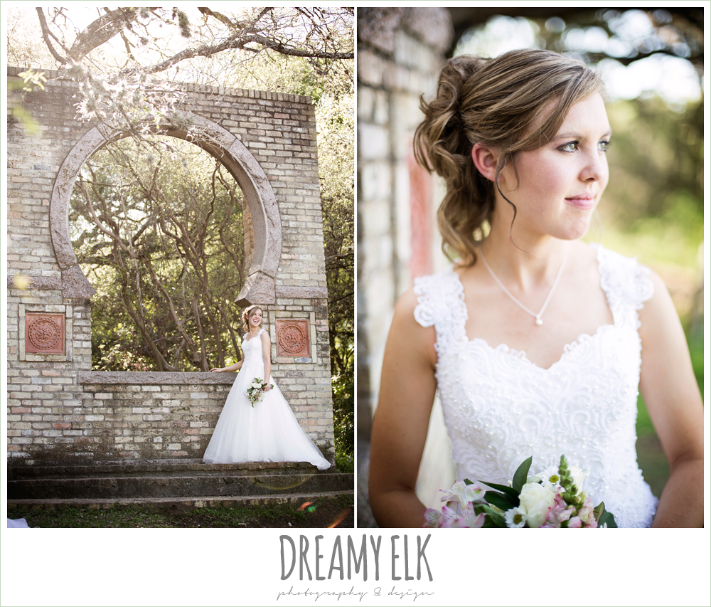 wedding hair updo, lace ball gown wedding dress, outdoor spring bridal photo, zilker botanical gardens, austin, texas {dreamy elk photography and design}