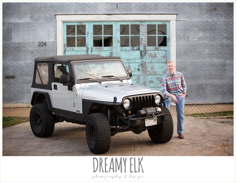 outdoor spring high school senior boy photo with jeep, georgetown, texas {dreamy elk photography and design}
