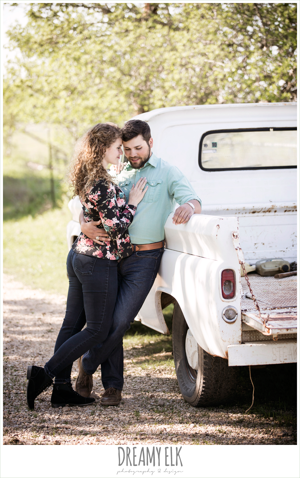 vintage truck, outdoor spring farm engagement photo, austin, texas {dreamy elk photography and design}