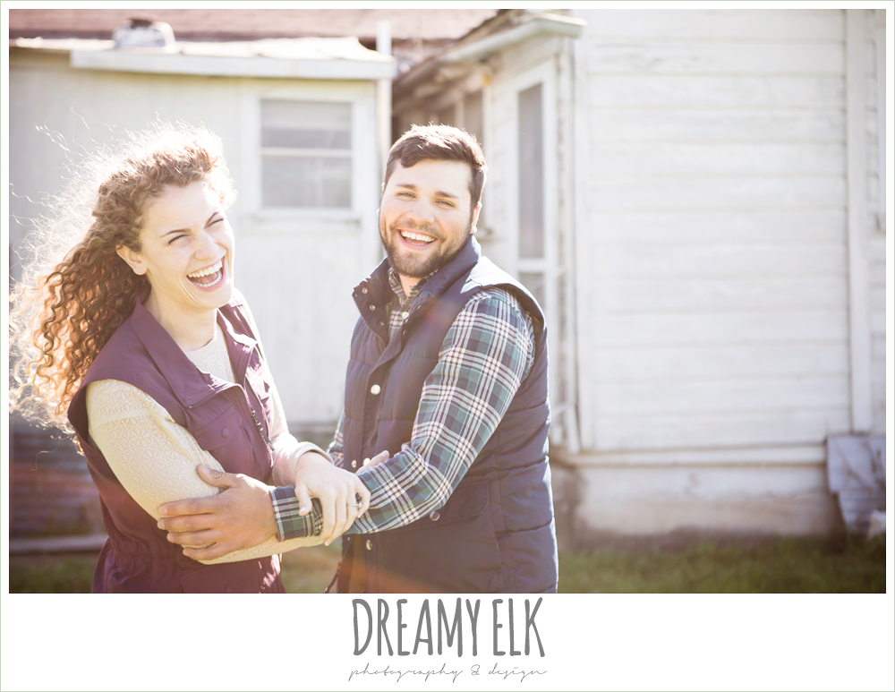 outdoor spring farm funny engagement photo, austin, texas {dreamy elk photography and design}