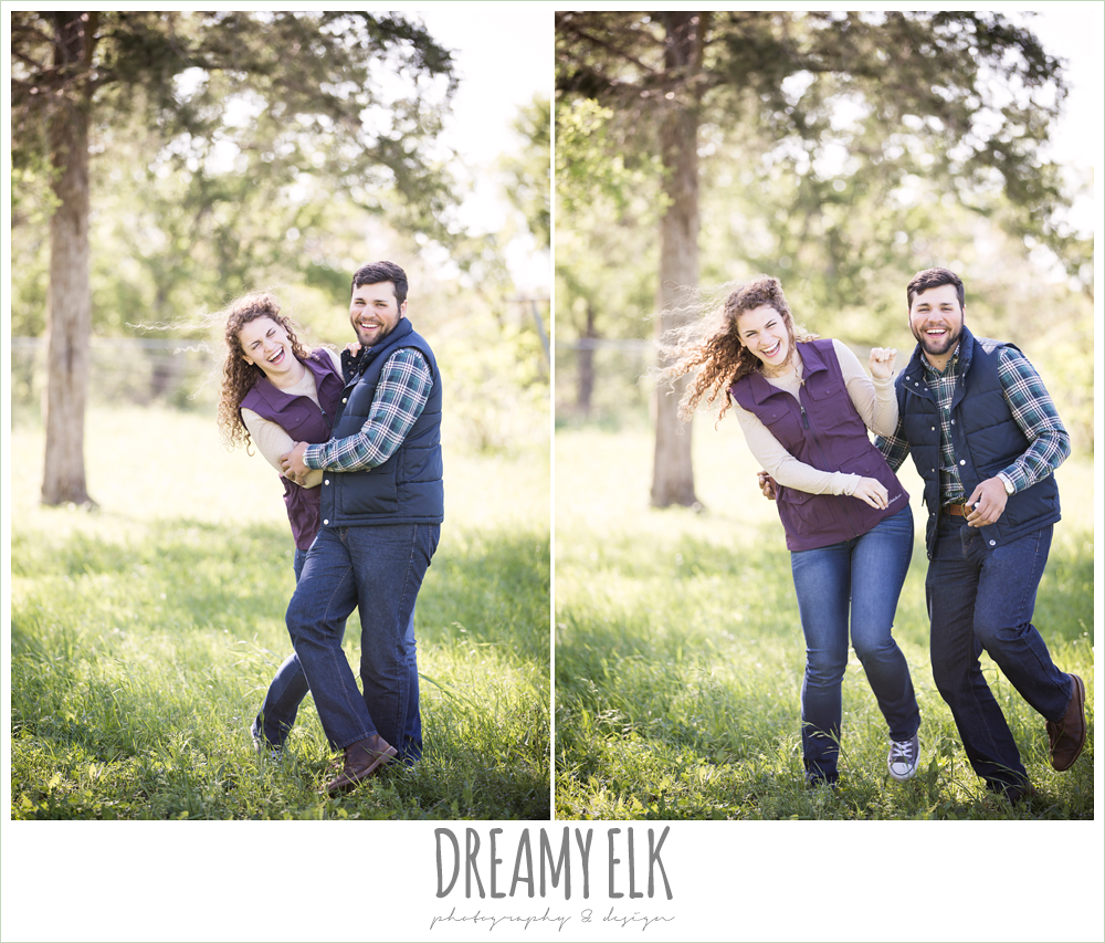 funny outdoor spring farm engagement photo, austin, texas {dreamy elk photography and design}