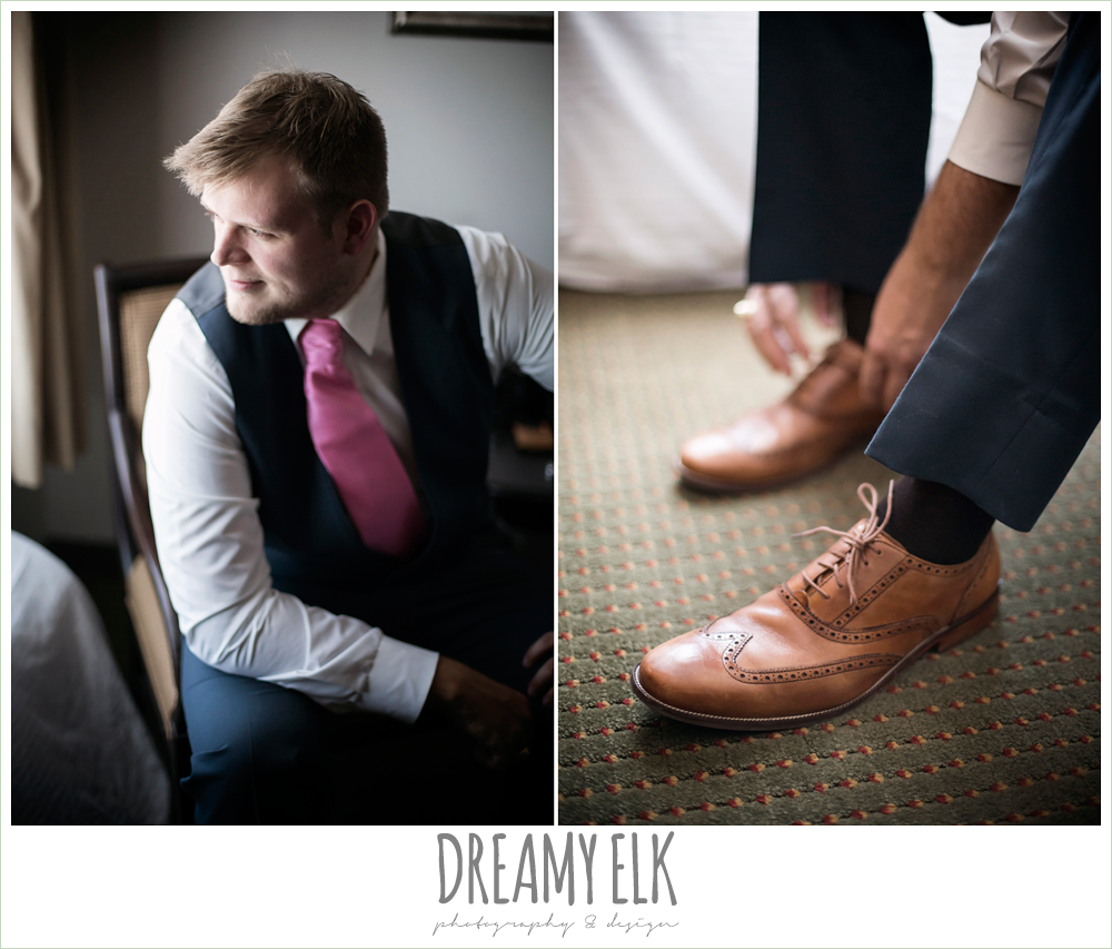 groom looking out window, pink tie and vest, april spring wedding photo, houston, texas {dreamy elk photography and design}