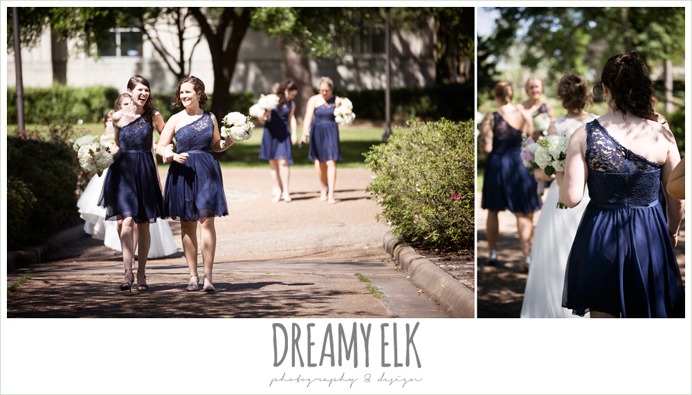 short one shoulder lace navy bridesmaids dress, bridesmaids laughing and walking, april spring wedding photo, houston, texas {dreamy elk photography and design}