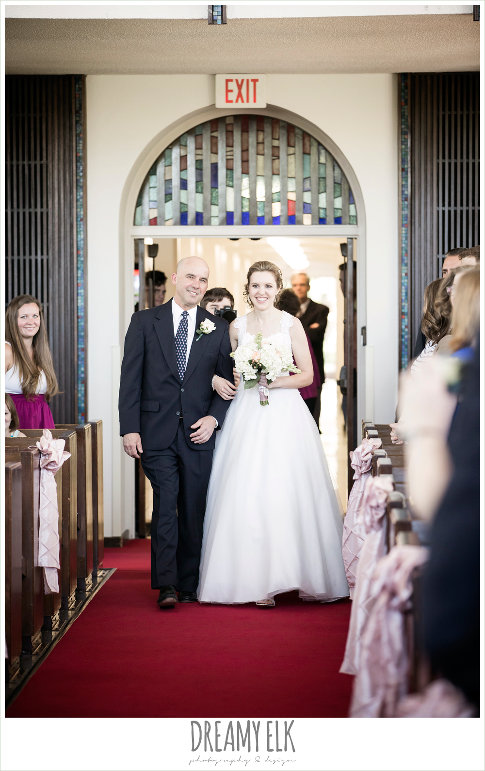 bride walking down the aisle, april spring houston wedding photo, university of houston campus, a.d. bruce religion center wedding {dreamy elk photography and design}