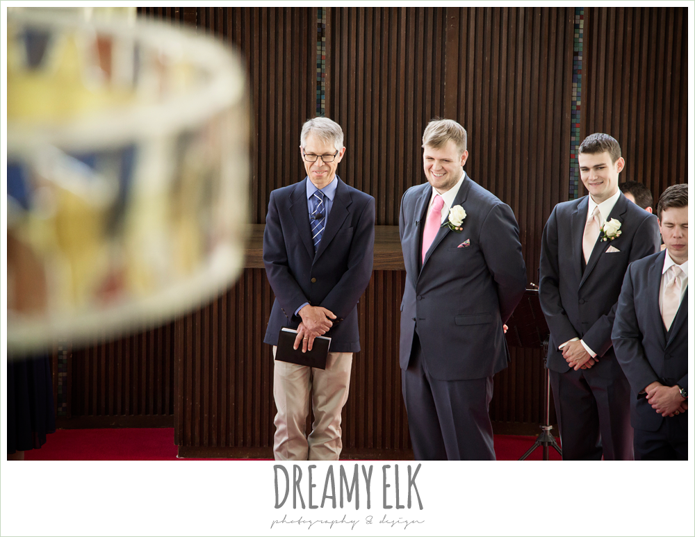 groom's reaction to bride walking down the aisle, april spring houston wedding photo, university of houston campus, a.d. bruce religion center wedding {dreamy elk photography and design}