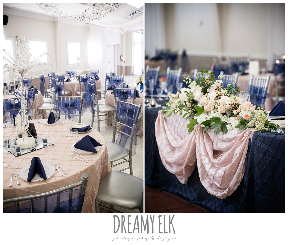 indoor navy and pink wedding reception decorations, april spring houston wedding photo, {dreamy elk photography and design}