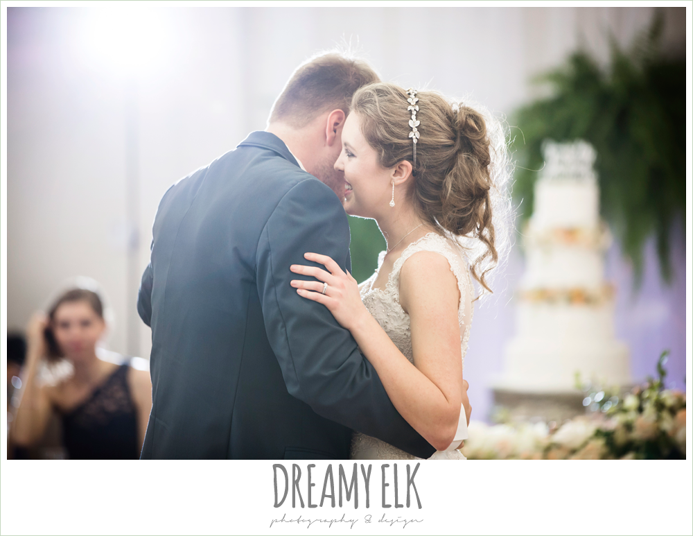 bride and groom first dance, indoor wedding reception, april spring houston wedding photo, {dreamy elk photography and design}