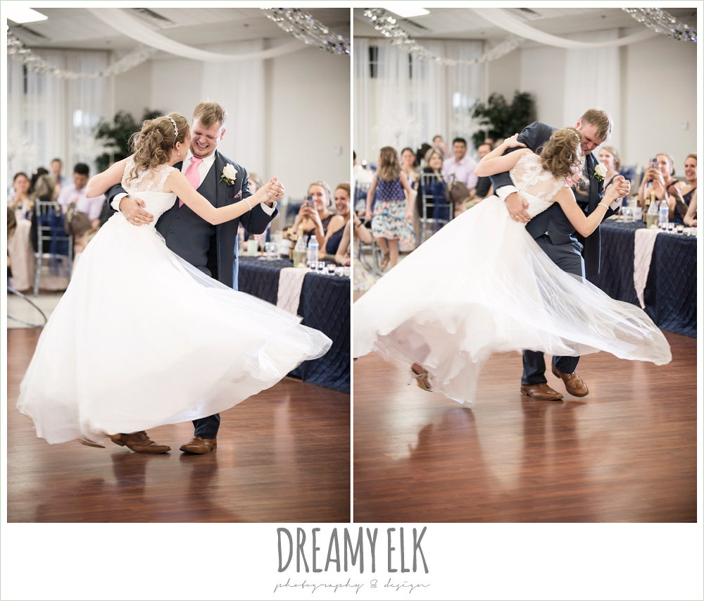 funny bride and groom first dance, twirling, april spring houston wedding photo, {dreamy elk photography and design}