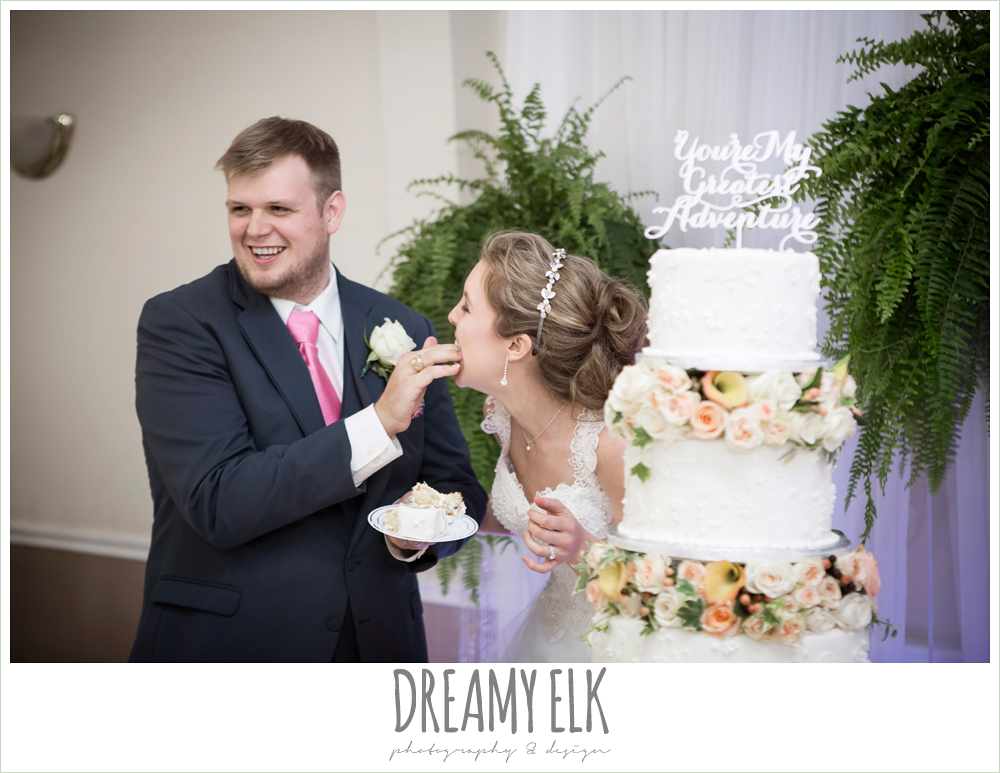 funny bride and groom, cutting the cake, april spring houston wedding photo, {dreamy elk photography and design}