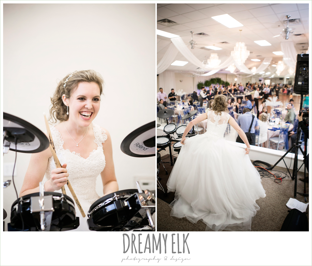 bride playing the drums at a wedding, april spring wedding reception, houston, texas {dreamy elk photography and design}