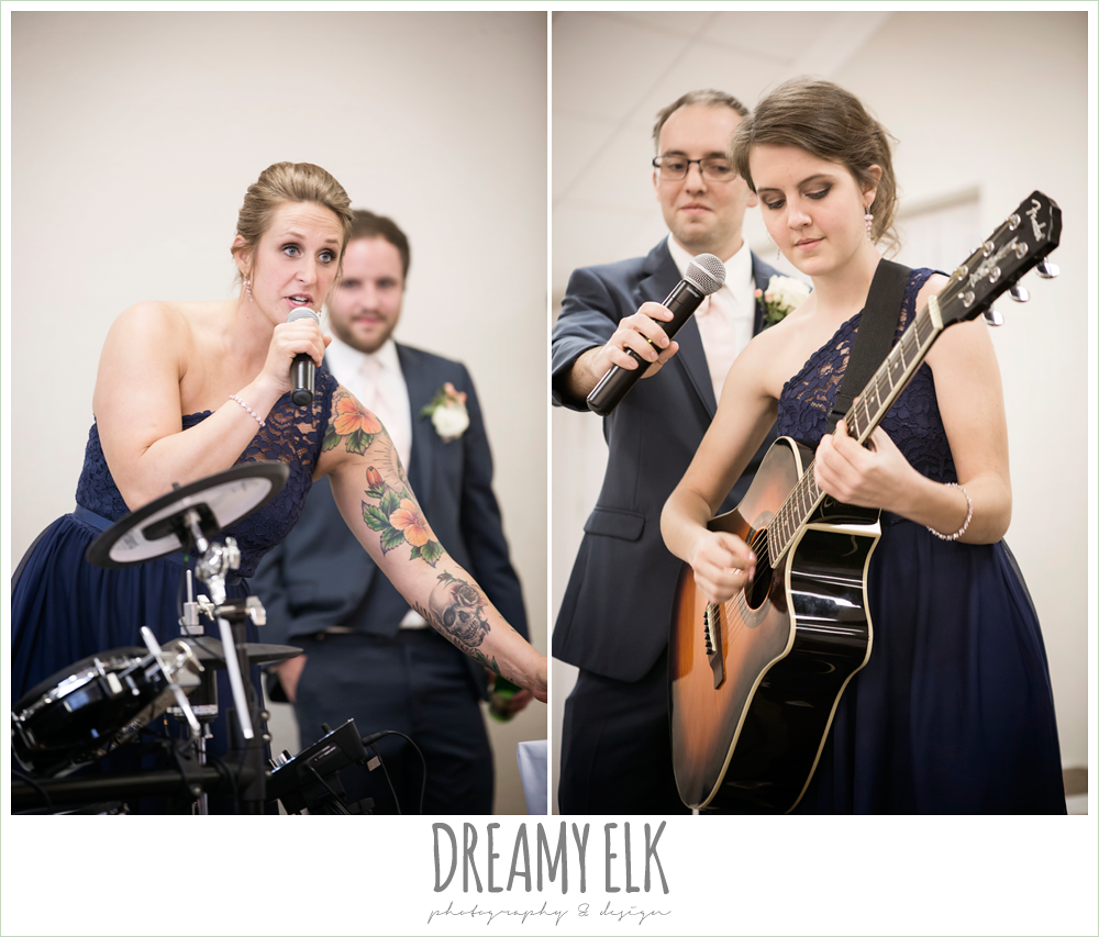 funny wedding photo, stand up comedy at wedding, bridesmaid playing guitar, april spring wedding reception, houston, texas {dreamy elk photography and design}