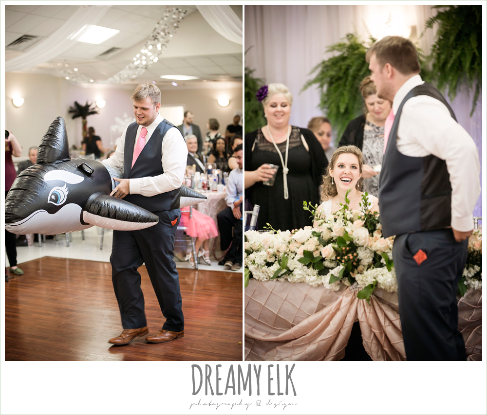 funny wedding reception, groom dancing with blow up whale, april spring wedding reception, houston, texas {dreamy elk photography and design}