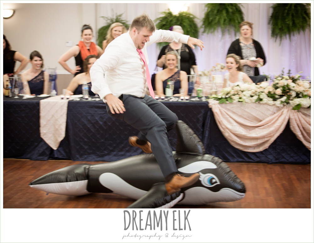 funny wedding reception, groom jumping, april spring wedding reception, houston, texas {dreamy elk photography and design}