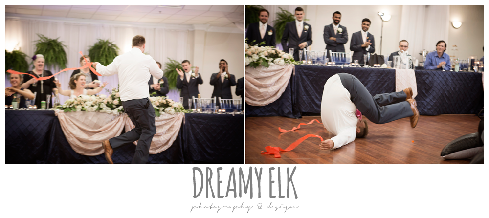 funny wedding reception, groom dancing with streamers, april spring wedding reception, houston, texas {dreamy elk photography and design}