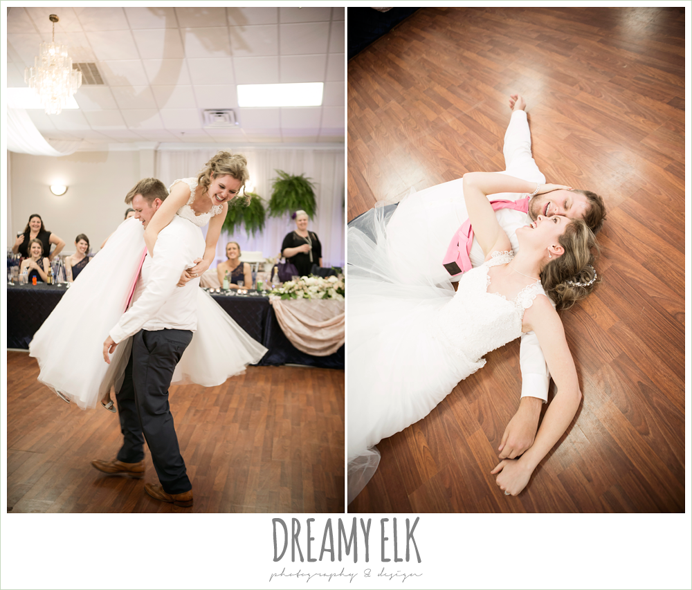 funny bride and groom dance, april spring wedding reception, houston, texas {dreamy elk photography and design}