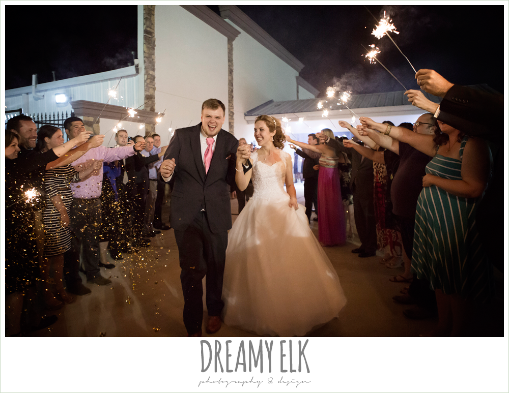 bride and groom send off with sparklers, april spring wedding reception, houston, texas {dreamy elk photography and design}