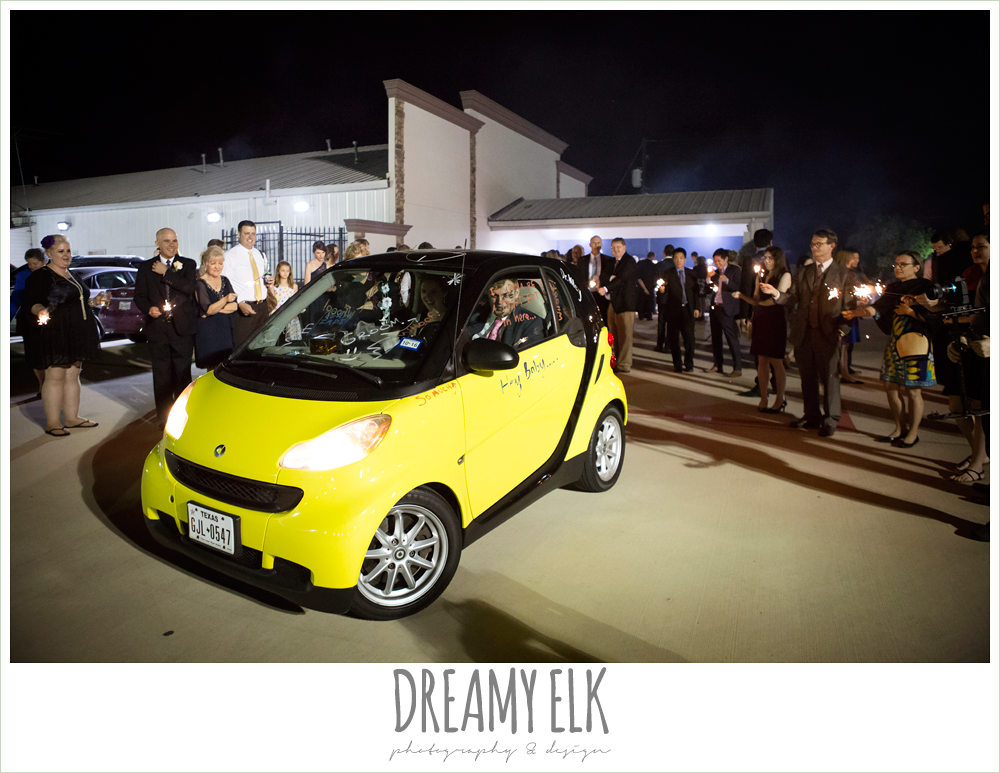 smart car, wedding send off, april spring wedding reception, houston, texas {dreamy elk photography and design}