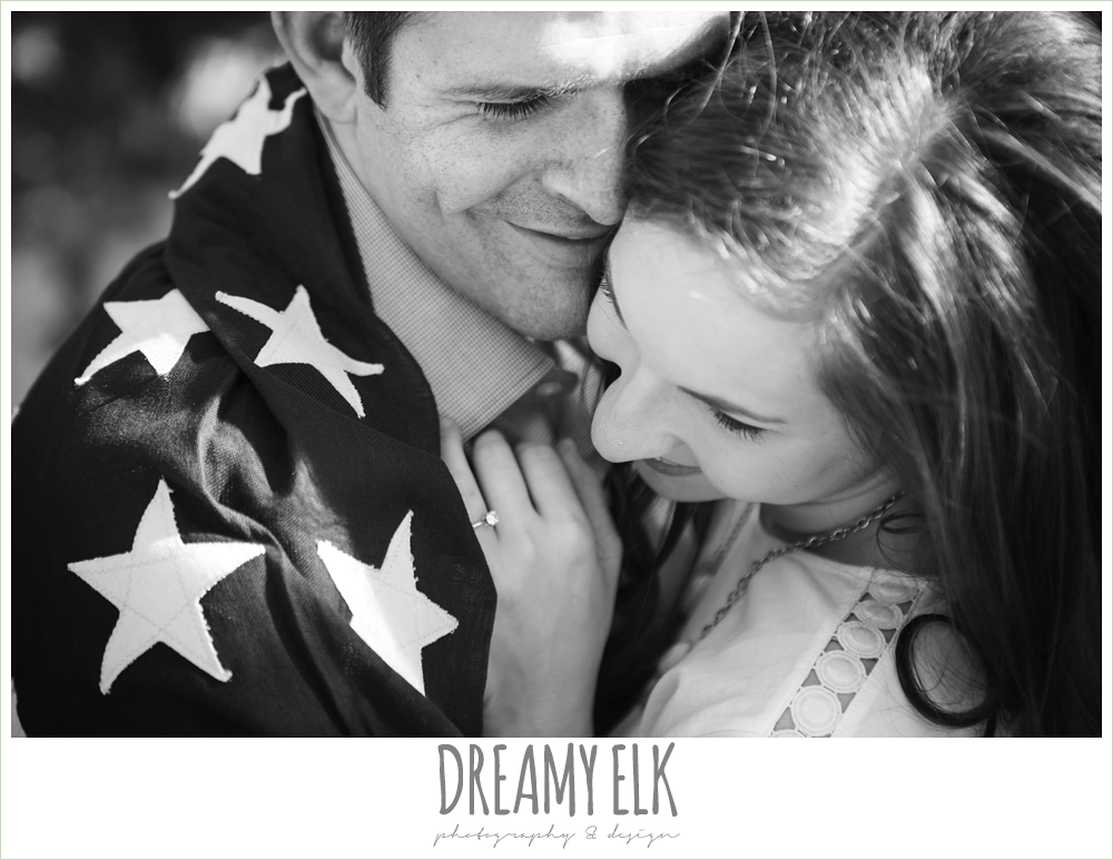 zilker metropolitan park, austin, texas, summer engagement photo with american flag {dreamy elk photography and design}