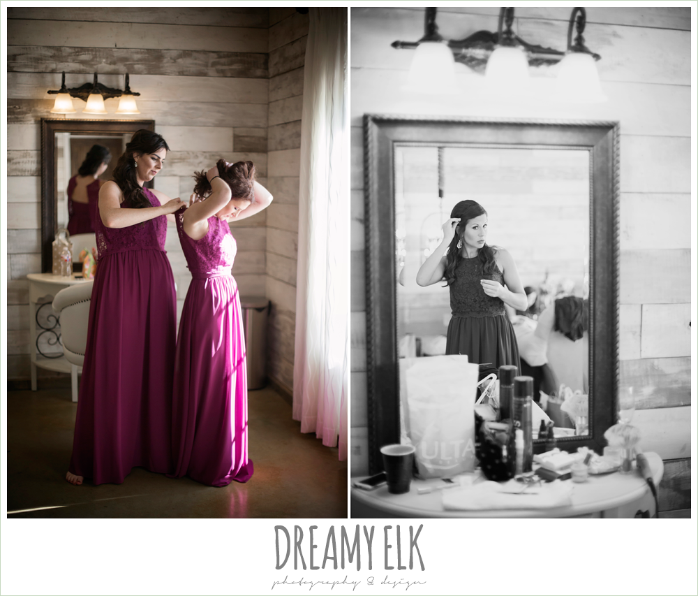 ventura's bridal, bridesmaids getting dressed, rustic chic, spring wedding photo, big sky barn, montgomery, texas {dreamy elk photography and design}